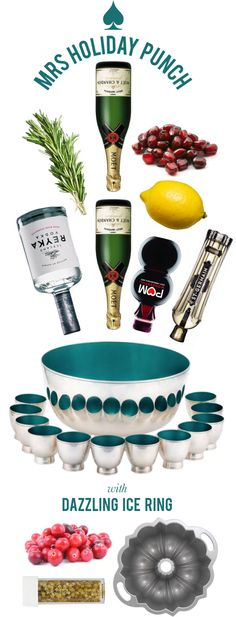 Best. Party. Punch. Ever.: Mrs Holiday Punch - St Germain, vodka, champagne, pom juice | Mrs. Lilien