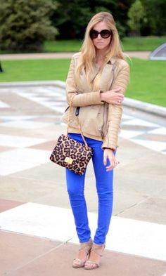 cobalt blue skinnies and leopard