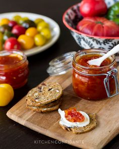 Tomato Jam Recipe | http://kitchenconfidante.com/tomato-jam-recipe (lemon, pectin, tomatoes, 4 cups sugar)