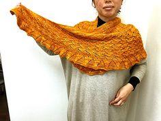 Lin-Lin Shawl by Yoko Johnston   malabrigo Worsted in Sunset