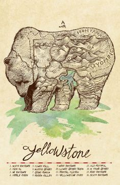 Map of Yellowstone Park drawn as a bear, by Jeremy Collins.
