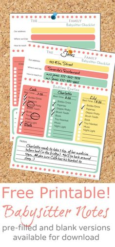 Printable Babysitter Checklist