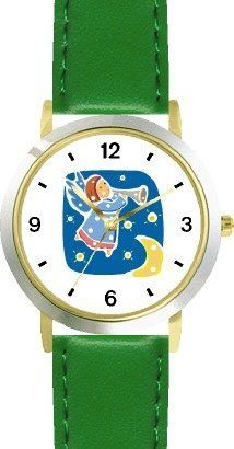 Angel with Bugle No.2 - Cherub, Angel or Cupid Theme - WATCHBUDDY® DELUXE TWO-TONE THEME WATCH - Arabic Numbers - Green Leather Strap-Children's Size-Small ( Boy's Size & Girl's Size ) WatchBuddy. $49.95
