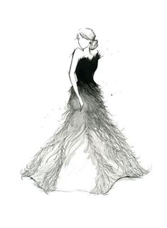 Fashion sketch ombré feather gown