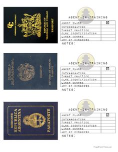 "Frugal Family Times: Family Fun: Secret Agent Birthday Party. I really like the printable passports for different ""countries."""