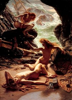 Sir Edward J. Poynter 1902  The Cave of the Storm Nymphs    The Cave of the Storm Nymphs depicts the moment from Homer's Odyssey when three alluring sirens successfully lure Odysseus' vessel into their fatal trap.  As the ship breaks apart, the seductive figures writhe in a state of triumphant ecstasy.