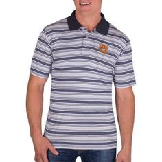 Ncaa Auburn Tigers Men's Classic-Fit Striped Polo Shirt, Size: Medium, Blue