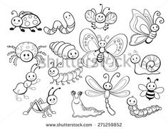 Set süße kleine Cartoon-Insekten: Damenbug, Biene, Stock-Vektorgrafik (Lizenzfrei) 339767462 - Large Vector Set of Cute Cartoon Bug Line Art La mejor imagen sobre home office para tu gusto Está - Bug Cartoon, Cartoon Drawings, Animal Drawings, Insect Clipart, Scrapbook Patterns, Free Adult Coloring, Line Art Vector, Garden Illustration, Garden Drawing