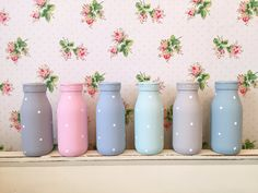 colourful painted polka dot milk bottles at lauren kate interiors