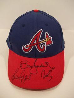 ATLANTA BRAVES AUTOGRAPHED BASEBALL HAT - #33 BRIAN JORDAN #8 Javy Lopez + #AtlantaBraves