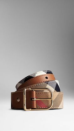 Burberry Tan House Check Belt - House check cotton twill belt with sartorial leather trim. Discover more accessories at Burberry.com
