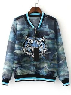 Shop Multicolor Camouflage Print Tiger Embroidery Jacket online. SheIn offers Multicolor Camouflage Print Tiger Embroidery Jacket & more to fit your fashionable needs.