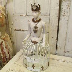 Handmade Santos cage doll with salvaged birdcage French Nordic white detailed Flemish doll sculpture statue Anita Spero Design