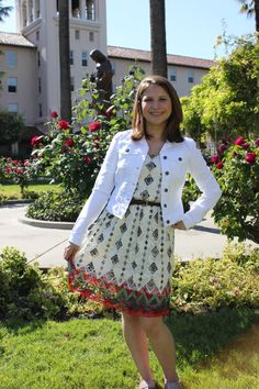 Maria | Santa Clara University White Denim jacket by Jessica Simpson for Macy's Aztec Dress by American Rag for Macy's