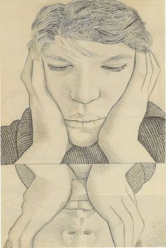 Lucian Freud (1922‑2011)  Narcissus -1948. Ink on paper. http://www.tate.org.uk/art/artworks/freud-narcissus-t11793