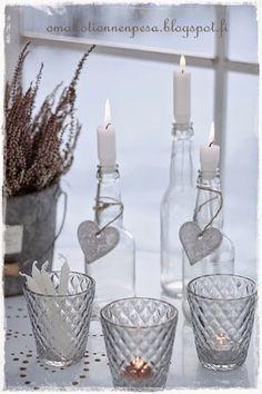 juomapulloista tehdyt kynttilänjalat
