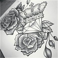 Image result for roses and diamond tattoo