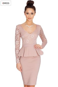 IDress Women Work Dresses 2016 New Fashion for the Office Sexy Elegant Long Sleeve Lace Knee Length Peplum Bodycon Office Dress (4)