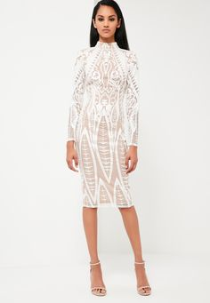 Missguided - Peace   Love White Lace High Neck Midi Dress