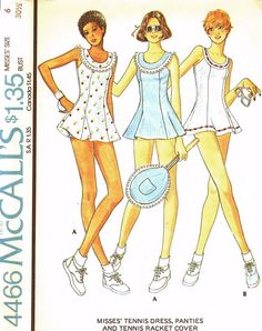 Tennis dress, panties and racquet cover by McCall's.
