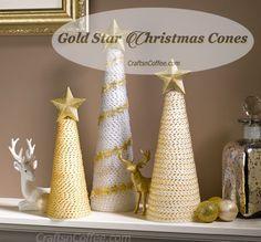 Love these sparkling, Gold Star Christmas Cones! So easy to DIY, too. CraftsnCoffee.com