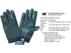 Leather Mechanic Gloves Mechanic Gloves, Mesh Fabric, Leather