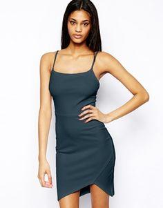 Image 1 of ASOS Textured Rib Asymmetric Body-Conscious Dress