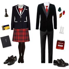 Beacon Academy Uniforms-RWBY by conquistadorofsorts on Polyvore featuring Vero Moda, Crippen, Yves Saint Laurent, Ted Baker, Alexander McQueen, Lanvin, Hallhuber, M&S, Lady Fox and Brioni