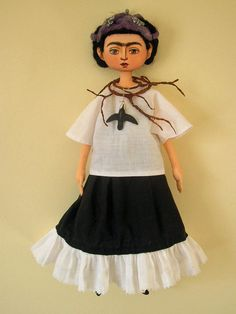 Frida Kalho Art Doll with necklace by josephineartifacts on Etsy, $200.00