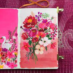 Pink illustration by Carolyn Gavin Art Journal Pages, Art Journals, Sketchbook Inspiration, Art Sketchbook, Floral Illustrations, Illustration Art, Illustrator, Guache, Collages