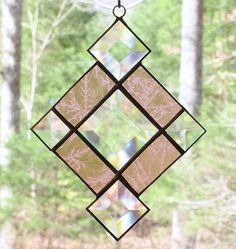 Small Stained Glass Suncatcher  Rose Pink Frosted Glass