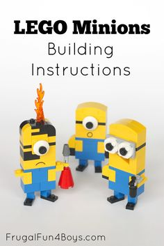 Lego Minions Building Instructions - Simple directions!  Build one-eyed or two-eyed minions.