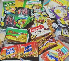 Philippine snacks we all love: Cornick, Cassava Crisps, Sweet Peanuts, Sweet Beans, Green Peas, Dilis (Anchovies), Garlic Peanuts, Pop Beans, Mixed Nuts, Cracker Nuts, Spicy Sampalok (Tamarind), Sweet-Potato Chips, Lengua de Gato, Iced Gem Biscuits