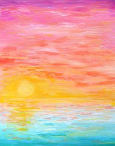 Acyrlic, Sunset, Tropical, Beachy...