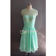 Short Mint Lace Bridesmaid Dress/Custom Ivory by AnnaCustomDress, $79.00