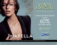 No pueden perderse la venta especial de MARELLA Antara, hasta 60% de descuento, sólo del 25 al 28 de julio 2014, además 6 mensualidades sin intereses con tarjetas participantes. Aplican restricciones.