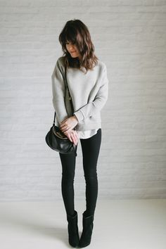 OUTFIT DEL DÍA: Grey, white and black outfit - Look con blanco, negro y gris