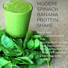 Did you get your #greens today? Try this #Modere Protein shake! #spinach #banana #yummy #healthy #smoothie #protein #easy #clean