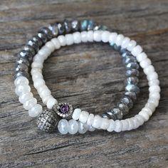 Diamond Labradorite Moonstone Bracelet / Metallic Fire by byjodi