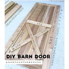 {Swipe} >>>>Our Faux Farmhouse DIY Barn Door Tutorial . Materials and Cedar from Lowes Home Improvement, 18 gauge finishing nails, table saw/miter saw . Assembly Again, let me remind you that we are not tutorial people. Interior Barn Doors, Home Interior, Stylish Interior, Interior Design, Modern Interior, Cheap Home Decor, Diy Home Decor, Decor Crafts, Grades