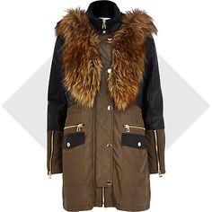 Khaki leather-look panel parka jacket - parkas - coats / jackets - women