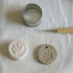 Make a plaster stamp Here is what you need: a rolling pin, a cutter, a stamp and a piece of plasticine.  Plasticine is soft clay made of plastic so when you poor the plaster in there, it will come off very easily afterwards.