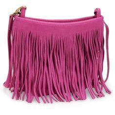 Pink Suede Fringe Crossbody Bag