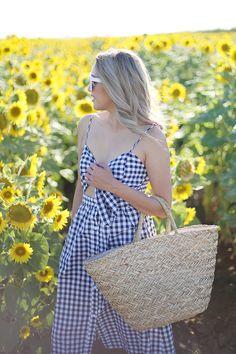 Beyond Basic Blog Field of Sunflowers Dixon CA Gingham Dress