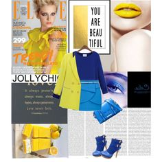 """""""Yellow and Blue"""" by jollychic on Polyvore i loved this feature i love the jolly chic site its beautiful colorful fresh and bright also loved the bag and the gorgeous short booties"""