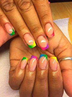 Fingernail Designs, Toe Nail Designs, Rainbow Nails, Neon Nails, Cute Nails, Pretty Nails, Diy Acrylic Nails, Colorful Nail Designs, Creative Nails