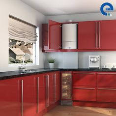 Find out more about the Worcester Greenstar Compact Condensing Combi Boiler at Mr Central Heating Hidden Kitchen, Big Kitchen, Kitchen Units, Kitchen Cupboards, Red Cabinets, Kitchen Appliances, Boiler Solar, Gas Boiler, New Kitchen Designs