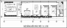 thiet ke nha cap 4 hien dai 5x20 chi diep Indian House Plans, My House Plans, Autocad 2014, Indian Homes, Home Goods, Floor Plans, How To Plan, Architecture, Denim Quilts