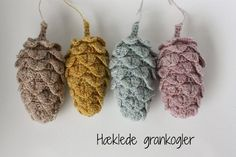 Crochet pine cones made by Frøken maj. Free pattern in Danish by Yarnfreak here http://yarnfreak-blog.blogspot.dk/2012/12/diy-hklede-grankogler.html