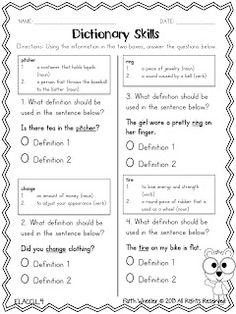 1st grade, Kindergarten Reading, Writing Worksheets: Dictionary ...